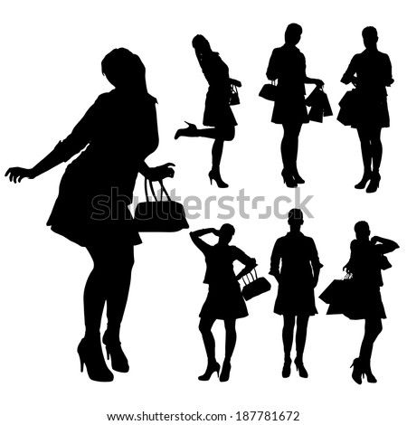 Vector silhouette of a woman with shopping bags. - stock vector