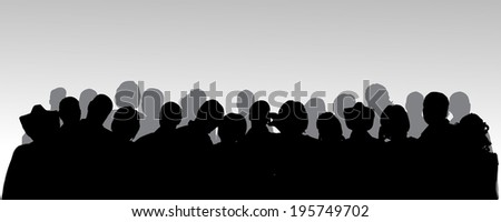 Vector silhouette of anonymous people on a gray background.