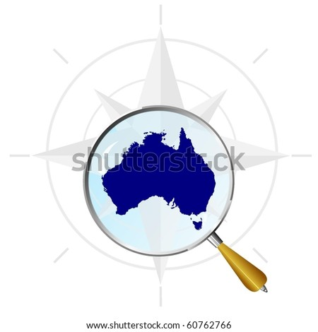 vector silhouette of Australia under the magnifying glass - stock vector