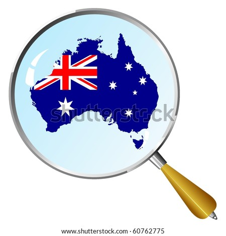 vector silhouette of Australia with the flag under the magnifying glass - stock vector