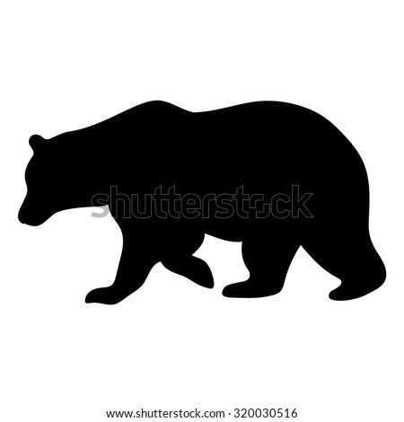 Vector silhouette of bear isolated on white background - stock vector