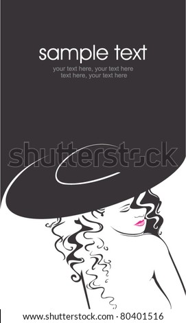 Vector silhouette of beautiful curly woman in a hat - stock vector