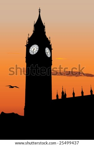 Vector silhouette of Big Ben at sunset, one of the most popular landmark in London - stock vector