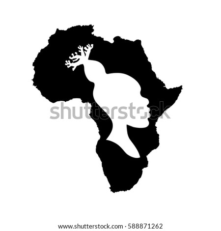 vector silhouette of black africa with white african american woman head silhouette with baobab hairstyle inside