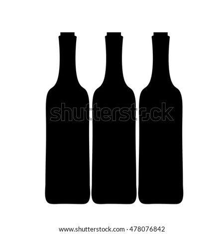Vector silhouette of bottle of wine on white background.
