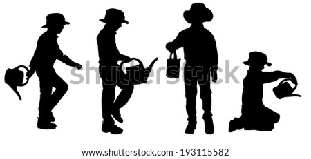 Vector silhouette of boy on a white background.
