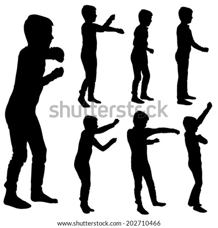Vector silhouette of boy on a white background. - stock vector