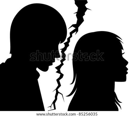 vector silhouette of broken relationship between young man and woman - stock vector