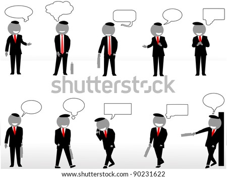 vector silhouette of business with conversation - stock vector