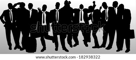 Vector silhouette of businessman on a gray background.