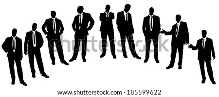 Vector silhouette of businessman on a white background. - stock vector