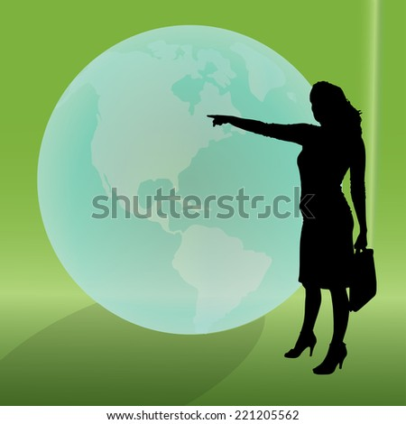 Vector silhouette of businesswoman on the background of the globe.