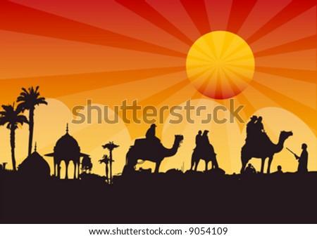 vector silhouette of caravan - stock vector