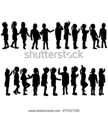 Vector silhouette of child on a white background. - stock vector