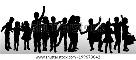 Vector silhouette of children on white background.