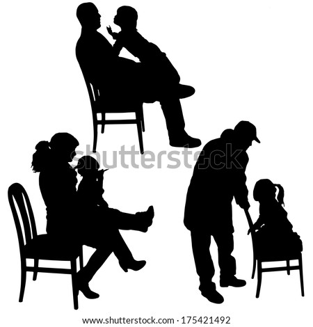 Vector silhouette of children playing with their parents.