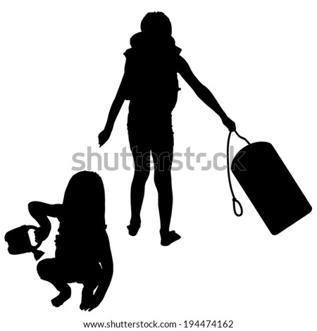 vector silhouette of children who play on white background.