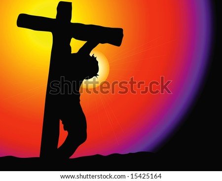 Vector silhouette of Christ on the cross at Calvary with vibrant background and star-burst - stock vector