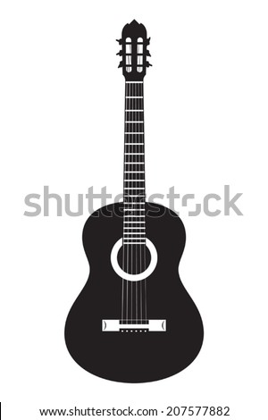 Vector silhouette of classical acoustic guitar on white background - stock vector