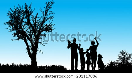 Vector silhouette of family in nature along the beautiful days.