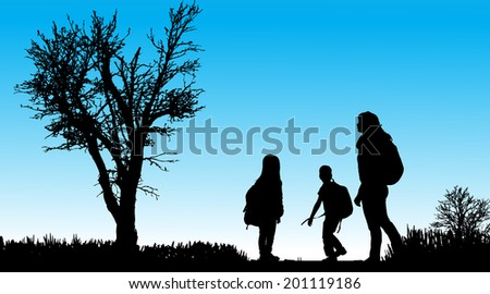 Vector silhouette of family in nature along the beautiful days. - stock vector