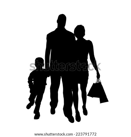 Vector silhouette of family on white background. - stock vector