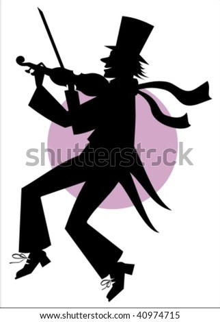Vector silhouette of funny musician playing violin