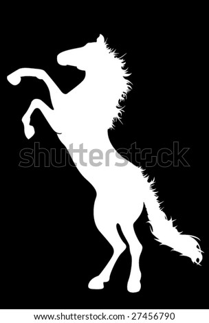 Vector silhouette of furious horse - stock vector
