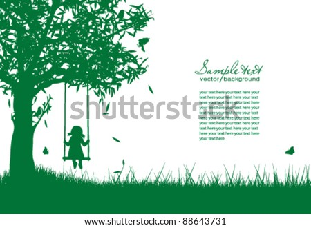 Vector silhouette of girl on swing - stock vector