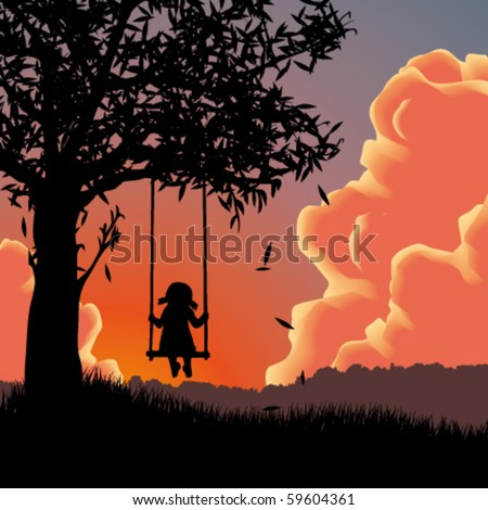 Vector silhouette of girl on swing. Sunset - stock vector