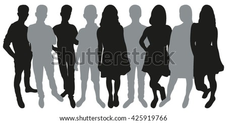 Vector Silhouette of Group of People