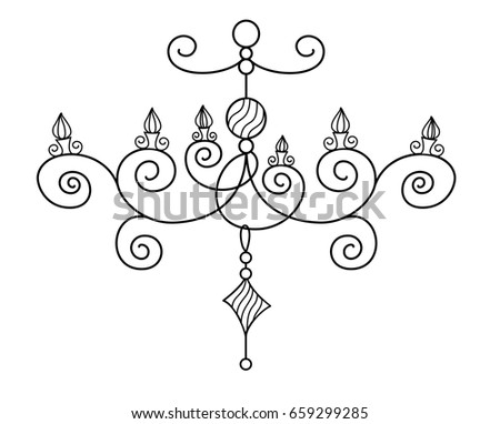 Vector silhouette hand drawn classy chandelier stock vector vector silhouette of hand drawn classy chandelier with five lamps and candlelight set in black color mozeypictures Images