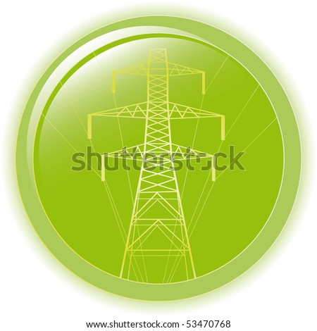 Vector silhouette of high voltage electric - stock vector