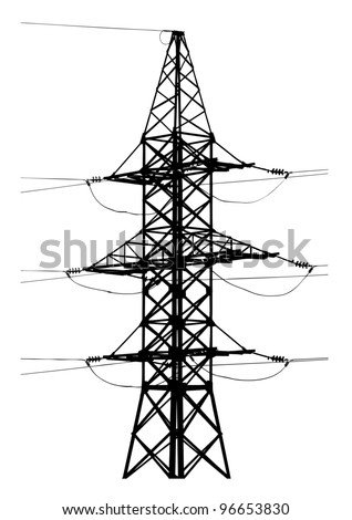 Vector silhouette of high voltage electric line - stock vector