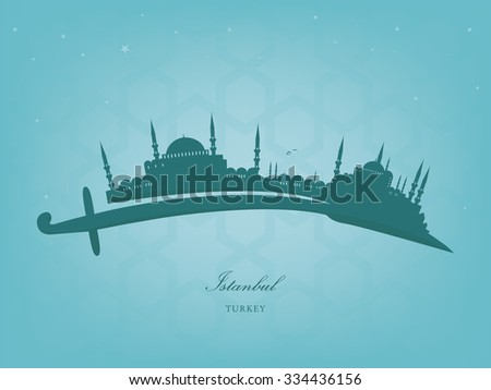 vector silhouette of Istanbul on a Turkish sword - stock vector