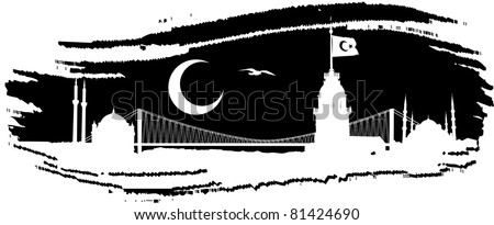 Vector silhouette of Istanbul skyline in black paintbrush dab - stock vector