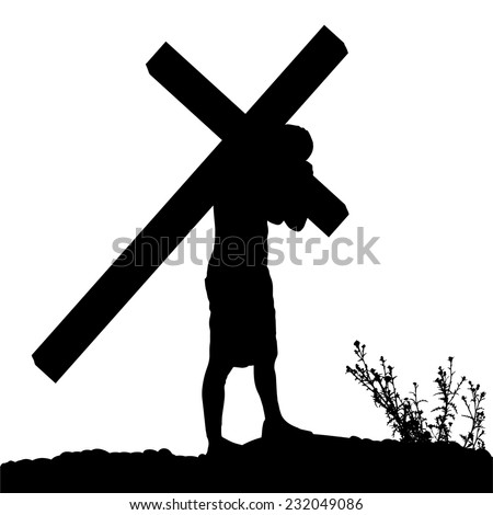 Vector silhouette of Jesus, who carries his cross. - stock vector
