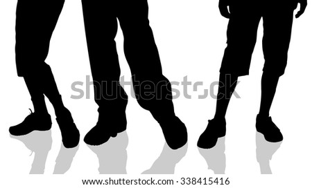 Vector silhouette of male feet on a white background.