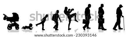 Vector silhouette of man as generation progresses. - stock vector