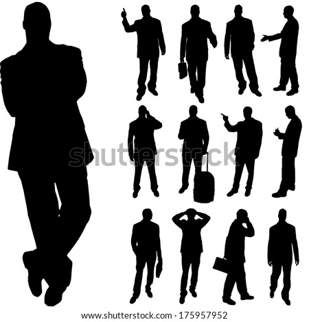 Vector silhouette of man on a white background.