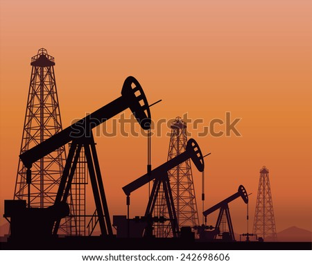 Vector. Silhouette of oil pumps and rigs on sunset background - stock vector