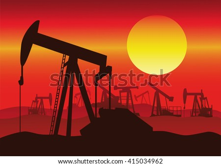 Vector silhouette of oil rigs at sunset background.