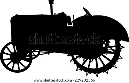 Vector silhouette of old tractor of road - stock vector