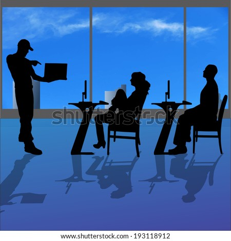 Vector silhouette of people in the office. - stock vector