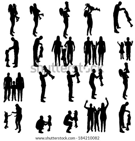 Vector silhouette of people on a white background.