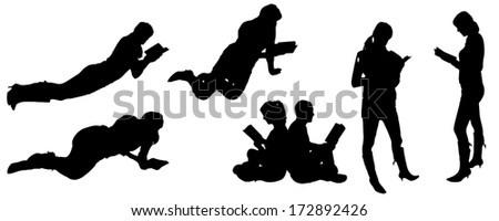 vector silhouette of people reading - stock vector