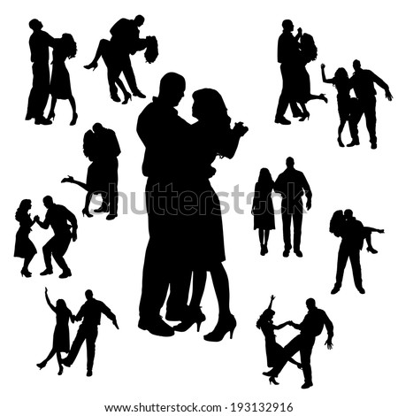 Vector silhouette of people who dance on a white background. - stock vector