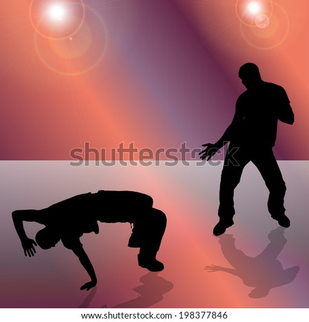 Vector silhouette of people who dance on red background.