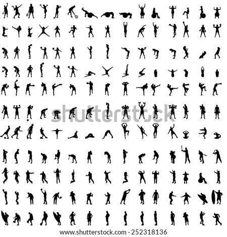 Vector silhouette of people who exercise on white background.
