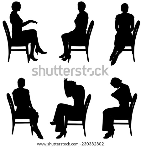 Vector silhouette of people who sit in the chair.